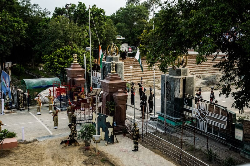 flag ceremony at Attari border, India