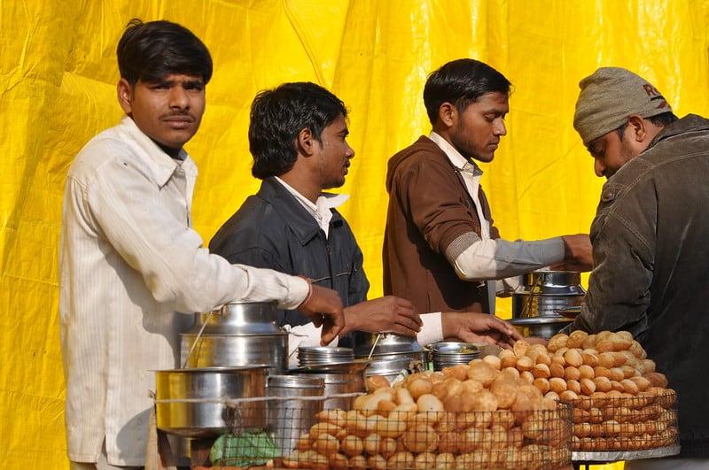 eating pani puri in India