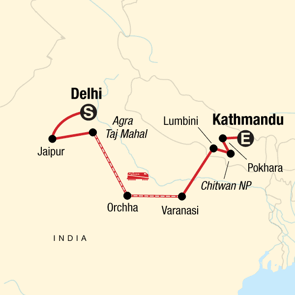 delhi to Kathmandu india small group tour